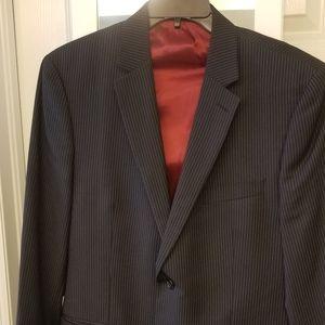 Mens IZOD 44R sportcoat pinstripe black white
